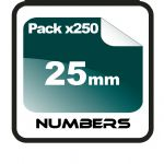 2.5cm (25mm) Race Numbers - 250 pack